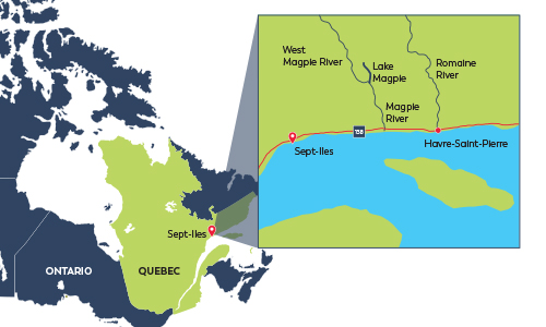 Map showing Cote Nord region of Quebec