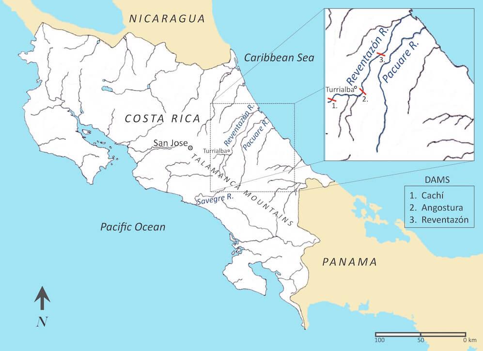 Rio Pacuare, Savegre, Reventazon - Costa Rica Rivers and dams Map