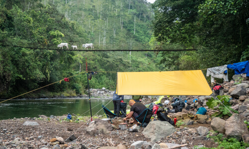 Whitewater Packrafting Expedition - camping on the Upper Upper Rio Pacuare