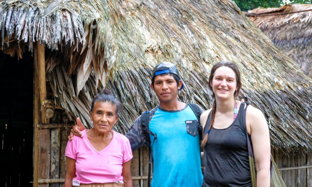 Indigenous Bribri river guide Ariel, his mom, and a trip participant—Ariel grew up here, 20 minute uphill hike  up the river and a 3 hour walk to the nearest bus stop
