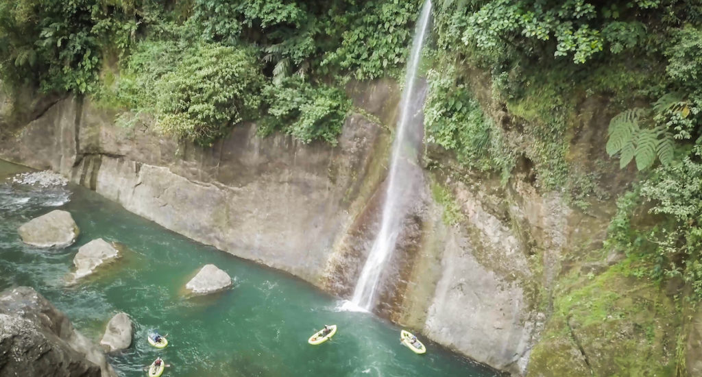 In Huacas canyon on the Rio Pacuare, the flat water between the famous Upper and Lower Huacas rapids