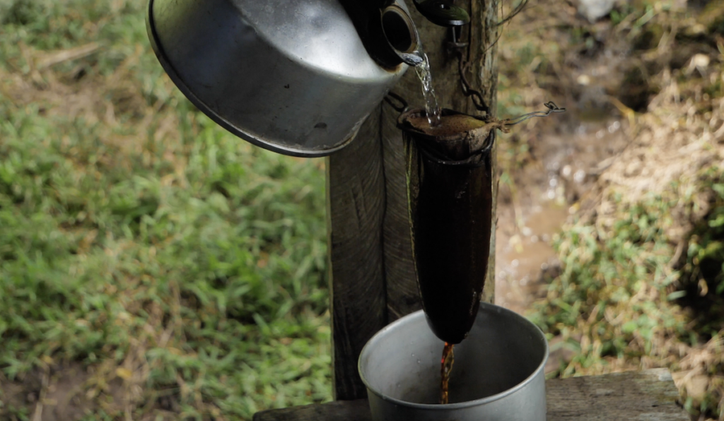 Coffee in Costa Rica made this way is called Cafe Chorreado