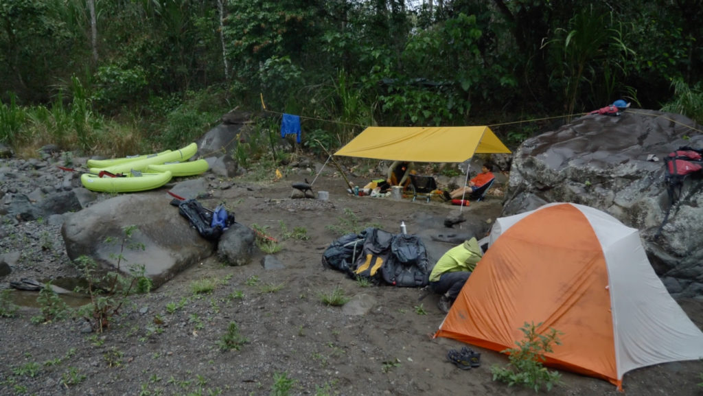 riverside backcountry camping in Costa Rican wilderness
