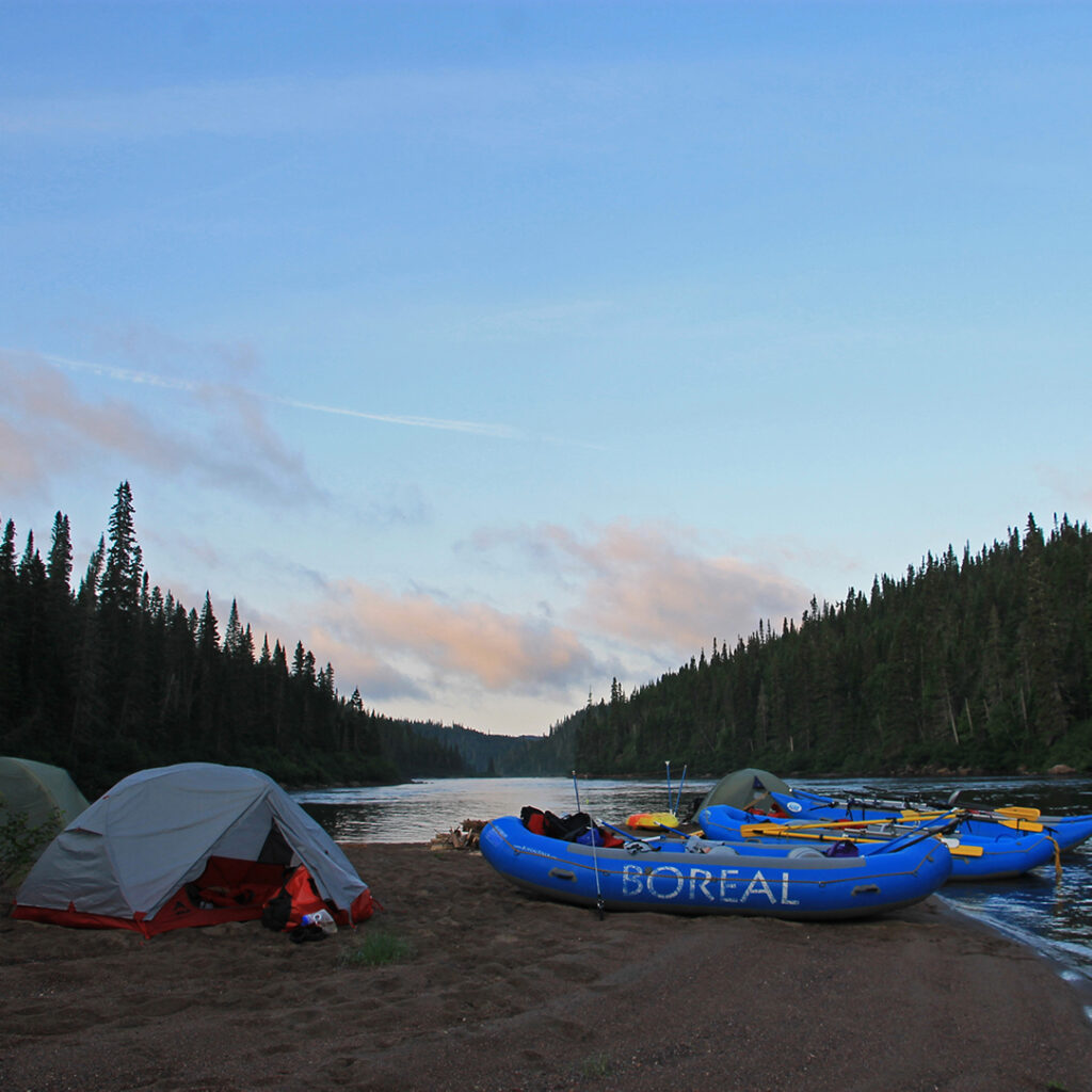 Rafts at the side of campsite on the magpie river