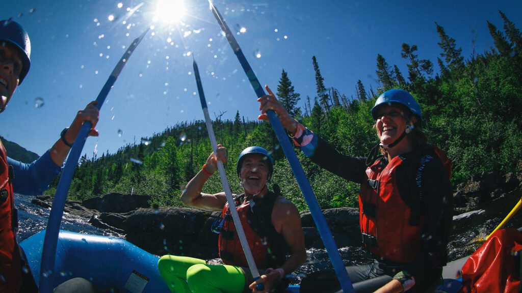 A group of paddlers having fun rafting on the Magpie River