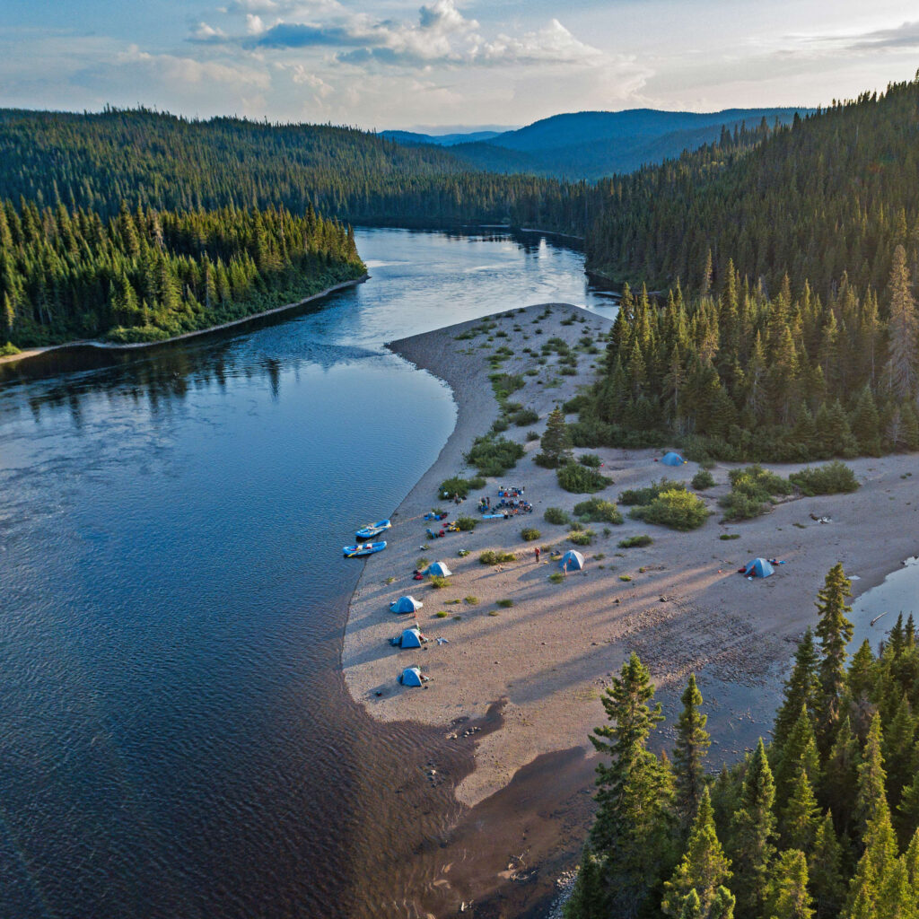 Campsite along the Magpie River, one of the best multi-day rafting trips in Canada