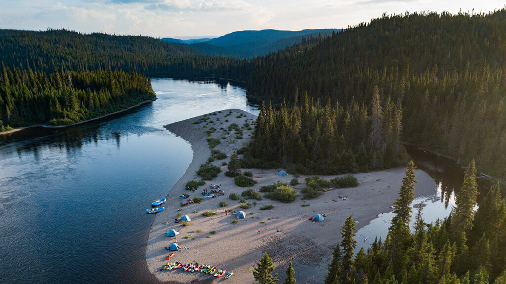 Perfect beach campsite on the Magpie River, one of the best multi-day white water rafting trips in Canada