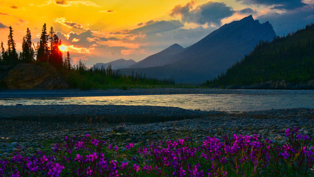 Sunset over the mountains on the Nahanni River